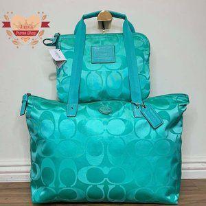 💚Coach Signature Nylon Bag & Snap Pouch💚